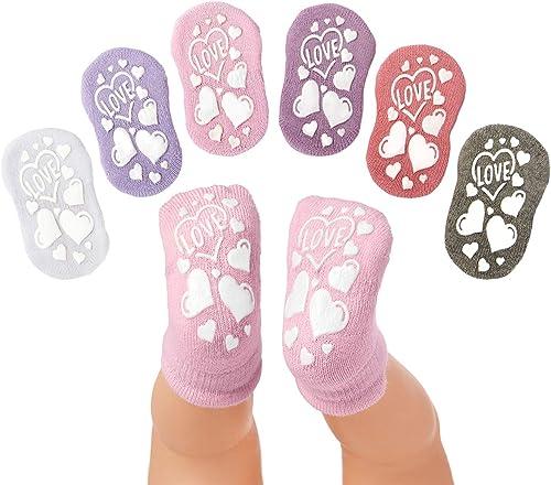 Anole Chaussettes pour Nouveau-né et Bébé - 6 Paires - Socquettes Fille-Garçon avec Coussin en Coton Doux (Filles, 3-...
