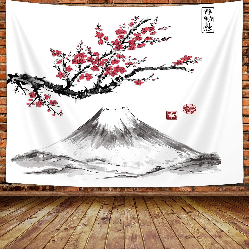 MERCHR Japanese Cherry Blossom Tapestry Wall Hanging, Mount Fuji Asian Oriental Red Art Decoration Furniture Bedding Tapestry, Tapestries for Living Room Bedroom Bedding Dorm Home Decorations, 60X40in