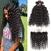 Brazilian Water Wave Bundles with Frontal(14 16 18+12)100% Virgin Human Hair Wet Wave Bundles With Frontal Lace Closure Unprocessed 8A+ Curly Hair Bundles with 13×4 Ear to Ear Frontal Natural Color