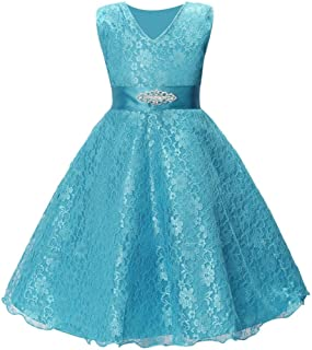 Woaills Lace Formal Pageant Gown Party Wedding Bridesmaid Dress for 5-10 Years Old Kids Girl Princess
