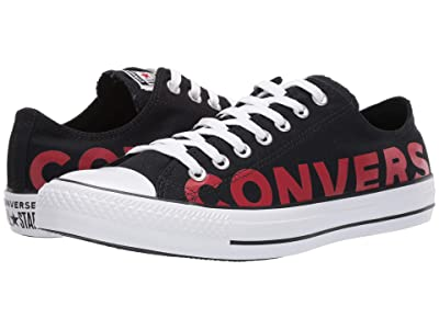 Converse Chuck Taylor All Star Wordmark 2.0 Ox (Black/Enamel Red/White) Shoes