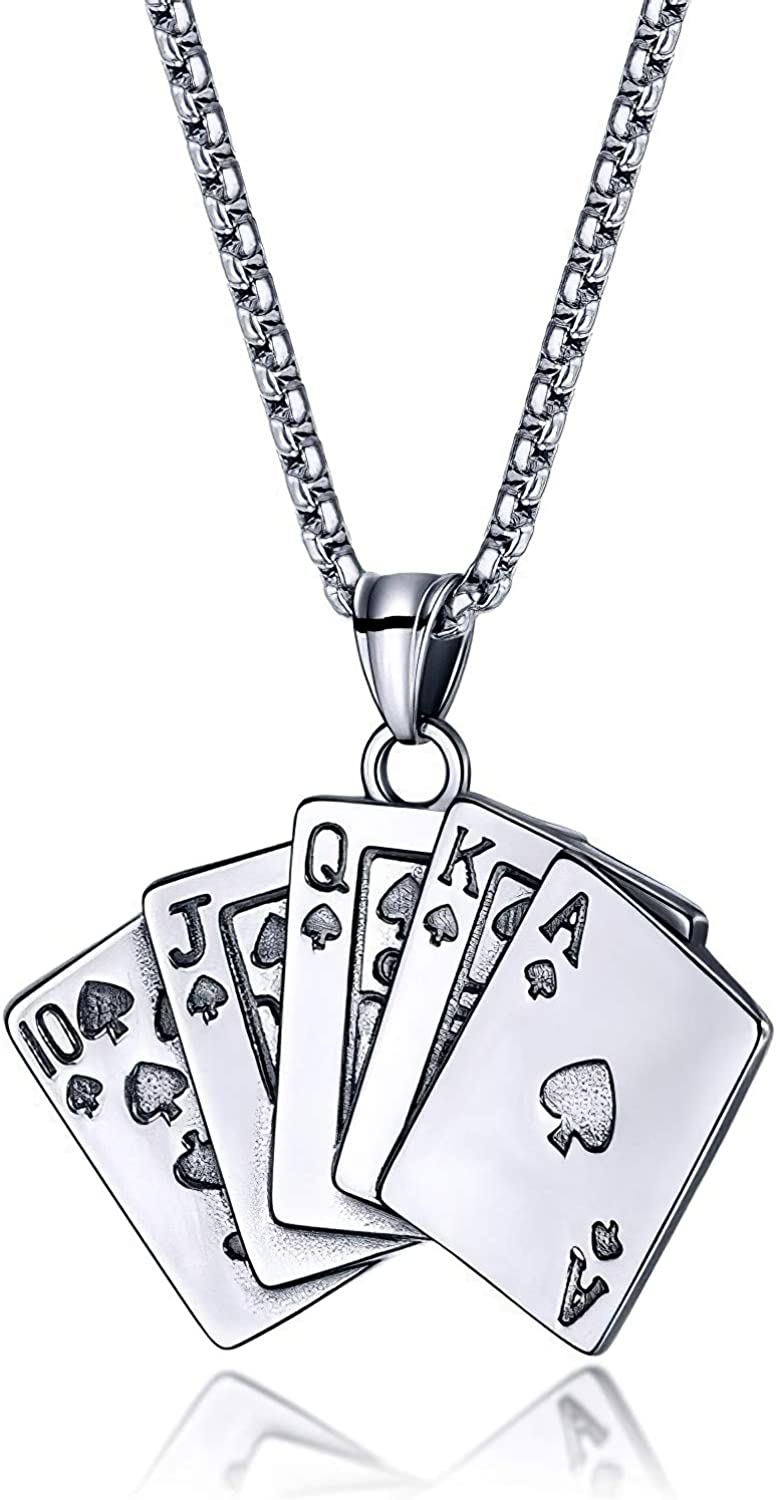 HYPOWELL Stainless Steel Royal Flush Poker Pendant Necklace Hip Hop Playing Card Pendant Necklace for Men Women
