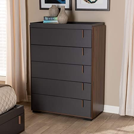 Baxton Studio Rikke Modern And Contemporary Two Tone Gray And Walnut Finished Wood 5 Drawer Chest Furniture Decor