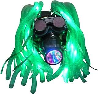 Steampunk Goggles LED-Light Dread cyberlock Goth Rave Club face mask, Costume Rave Dance Music Festival Accessories