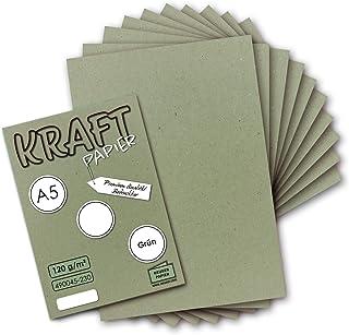 Neuser Paper Lot de 50 feuilles de papier kraft vert vintage DIN A5 120 g/m² recyclé 21 x 14,8 cm 100 % écologique
