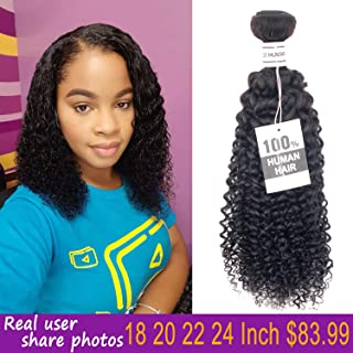 Brazilian Curly Hair Bundles 18 20 22 24 Inch Kinky Curly Weave Brazilian Curly Bundles Human Hair Natural Color(18 20 22 24inches)