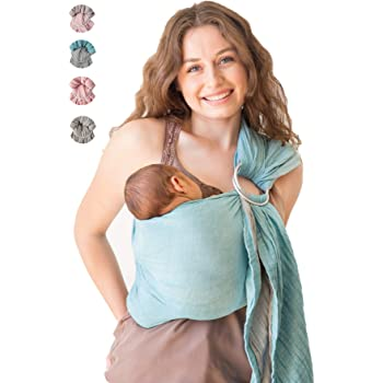 Baby Wrap Carrier Ring Sling-Luxury Extra Soft Turkish Cotton Muslin Grey Turquoise-for Newborns, Infants and Toddlers-Perfect Baby Shower Gift