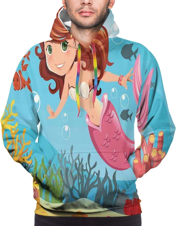 Men's Hoodies Sweatshirts,Mermaid Swimming Underwater in The Ocean Smiles Cheerful Happiness