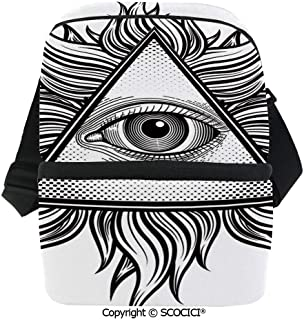SCOCICI Insulated Lunch Cooler Bag Triangle Shape with Wavy Figures and All Seeing Eye Tattoo Style Spiritual Masonic Decorativ Reusable Lunch for Men Women Heat Insulation,Heat Protection