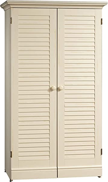 Sauder 158097 Harbor View Craft Armoire L 35 12 X W 21 81 X H 61 58 Antiqued White Finish