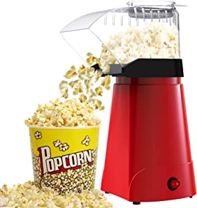 SLENPET 1200W Hot Air Popcorn Poppers Machine, Home Electric Popcorn Maker with Measuring Cup, 3 Min Fast Popping, ETL Certified, Oil Free, 98% Poping Rate, Great for Home Movie TV, Party (Red)