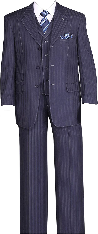 Milano Moda Fancy Stripe High Fashion Suit with Vest & Pants 5267