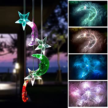 BALANSOHO Solar Mobile Wind Chimes Moon Star Color-Changing Waterproof LED Hanging Lamp Night Lights for Outdoor Gardening Home Decoration