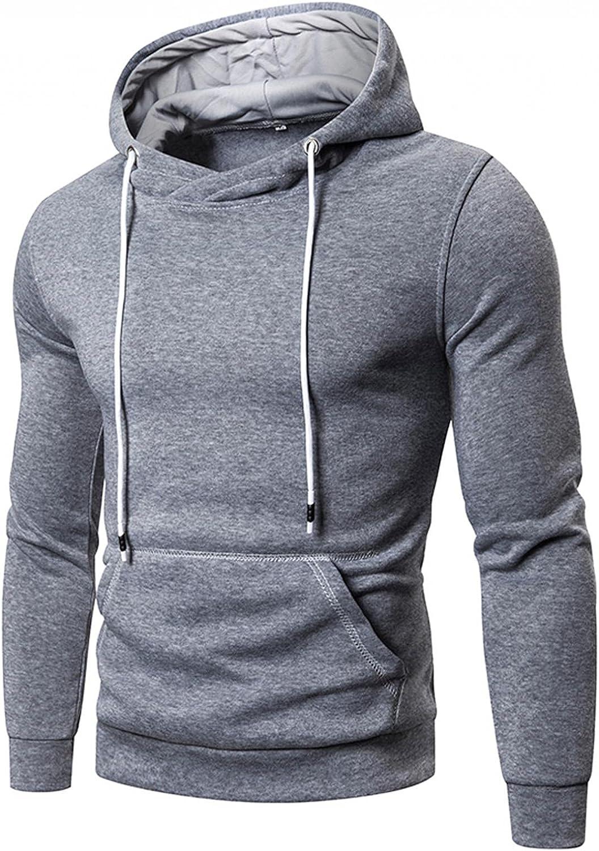 Aayomet Men's Pullover Hoodies Solid Long Sleeve Hooded Sweatshirts Casual Workout Sport Blouses Tops Sweaters