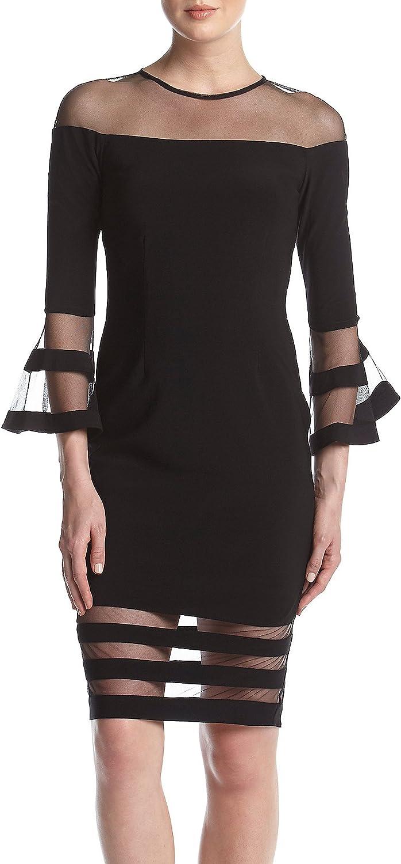 Betsy & Adam Women's Bell Sleeve Illusion Mesh Cocktail Dress