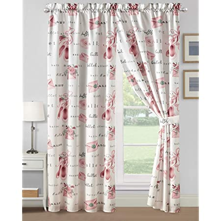WPM Kids Collection Bedding 4 Piece Pink White Window Curtain Set with Panel and tiebacks Fun Ballerina Design for Girls Bedroom (Ballerina)