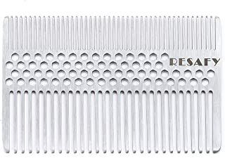 Resafy Stainless Steel Hair Comb Wallet Comb Credit Cart Size Pocket Comb