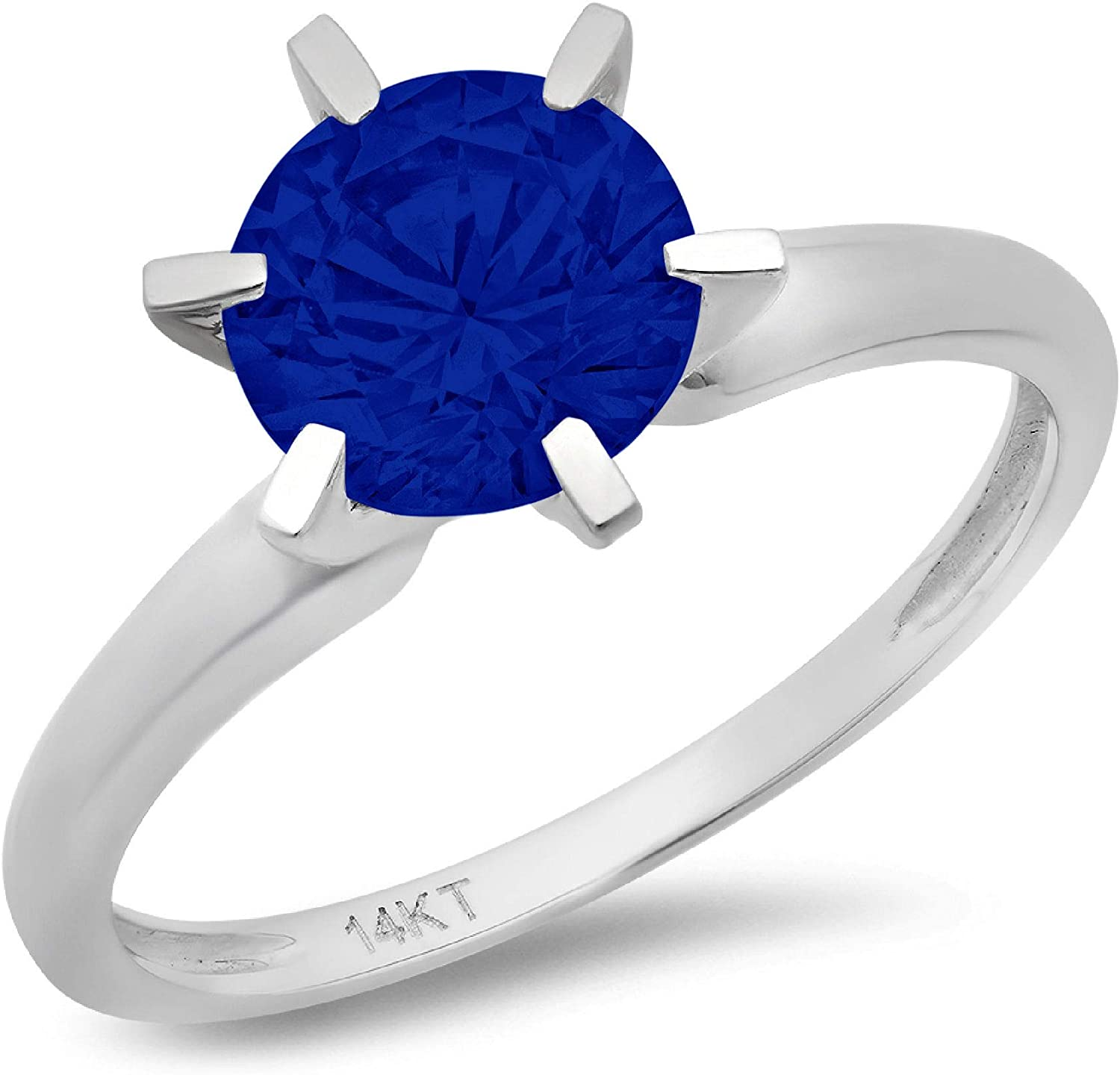 2.0 ct Brilliant Round Cut Solitaire Flawless Simulated Blue Sapphire Ideal 6-Prong Engagement Wedding Bridal Promise Anniversary Designer Ring in Solid 14k White Gold for Women
