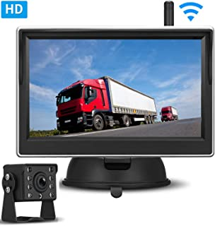 Digital Wireless Backup Camera HD 720P 5'' Monitor Kit for RVs, SUVs,/Pickups, Truck High-Speed Observation System IP69K Waterproof Super Night Vision ON/Off Switch Guide Lines Continuous/Reverse Use