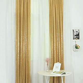 GFCC Glitter Gold Sequin Backdrops Curtains Panels 2FT x 8FT 2pcs for Party Wedding Event Background Decor Window Drapes Sparkly Sequin Photo Backdrop Photography Fabric
