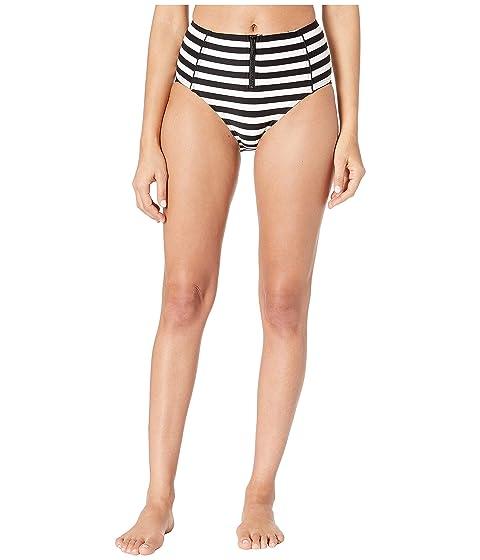 Kate Spade New York Cape May High-Waisted Bikini Bottoms w/ Bow Zipper Pull