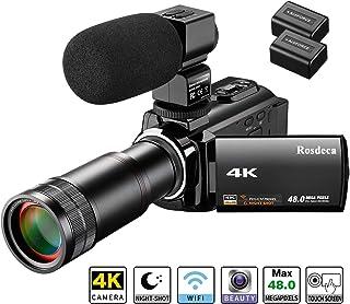 ビデオカメラ Rosdeca デジタルビデオカメラ ウェブカメラ 4K 4800万画素 WIFI機能 16倍デジタルズーム+8倍スーパーズーム IR赤外線暗視機能 デジタル補正 270度回転画面 予備バッテリー付属 望遠レンズ搭載 3.0インチタッチパネル 外付けマイク 日本語取扱説明書 カメラポーチ