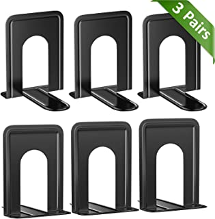 MROCO Universal Premium Bookends, Non-Skid, Heavy Duty Metal Book Ends for Shelves, Book Support, Book Stopper for Books, Movies, Magazines, Video Games, 6 x 4.6 x 6 inches, Black, 3 Pairs/6 Pieces