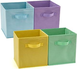 EZOWare Boîtes de Rangement Ouvertes en Textile Non-Tissé, Cube, Carré, Pliable, Tiroir en Tissu, Pack de 4, pour Linge, J...