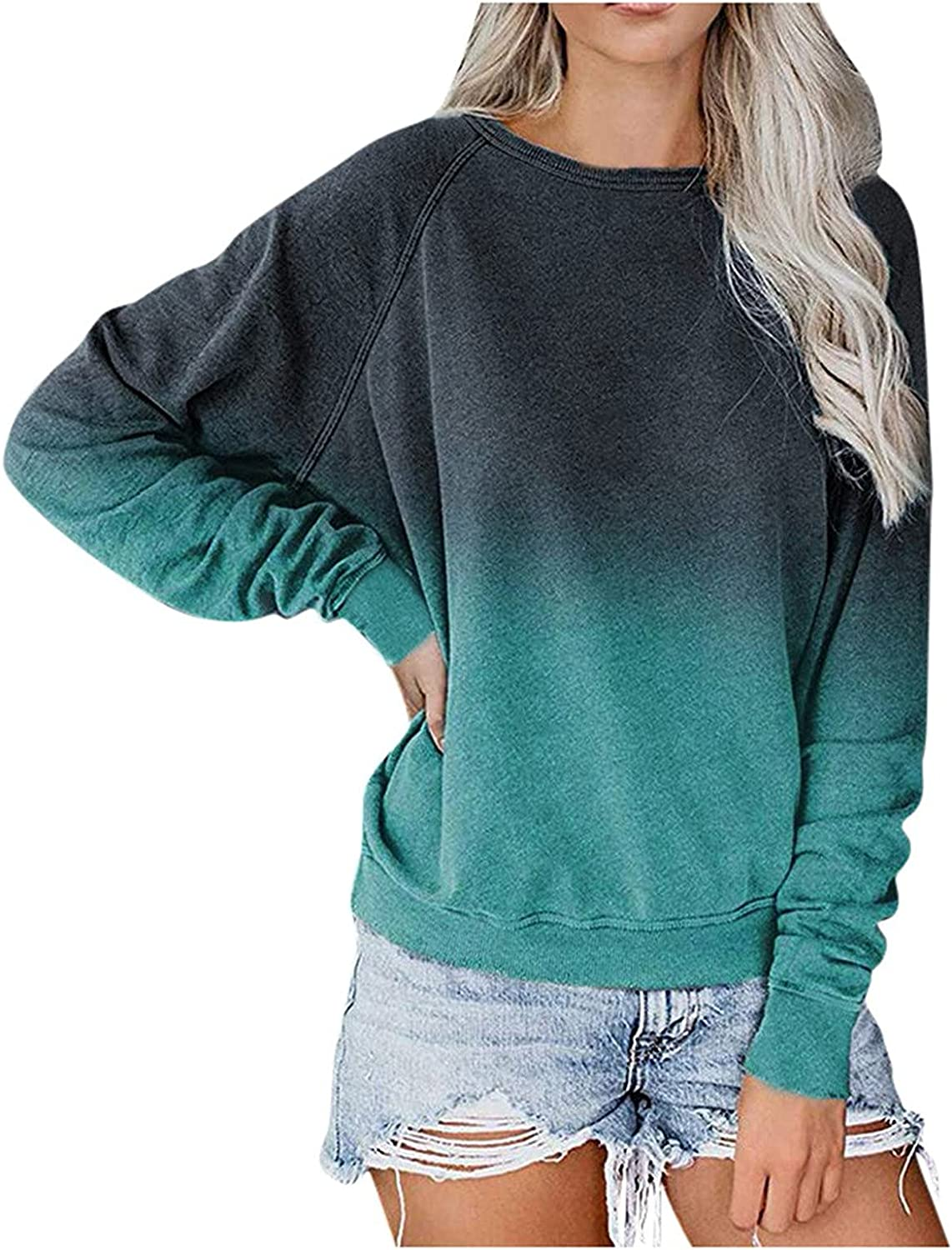 Sweatshirts for Women, Pullover Oversized Vintage Solid Long Sleeve Loose Sweatshirt Sweaters Tops Shirts