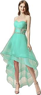 فستان حفلات التخرج من Clearbridal قصير للنساء فساتين حفلات رسمية طويلة ومنخفضة