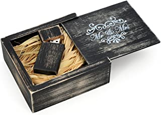 Antique Maple 16GB USB Flash Drive - Stained in Nightshade Black - Inserted into a Printed Matching Maple Stained Box with Raffia grass inside. MR & MRS Design!