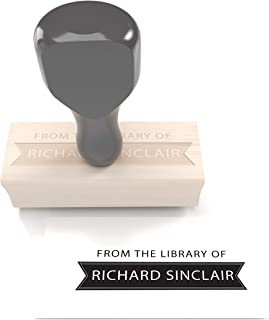 Typii - from The Library of - Custom Rubber Stamp with Modern Design for Book Naming - Traditional Wood Mount with Handle - 1 x 2.5 Inches