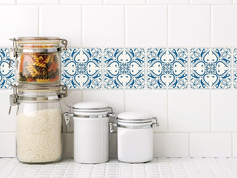 GRAZDesign Orientalische Fliesenaufkleber marokkanisches Muster - Fliesenfolie blau - Fliesenspiegel Küche Mosaik - Fliesenaufkleber Mandala   15x15cm   770251_15x15_FL40st