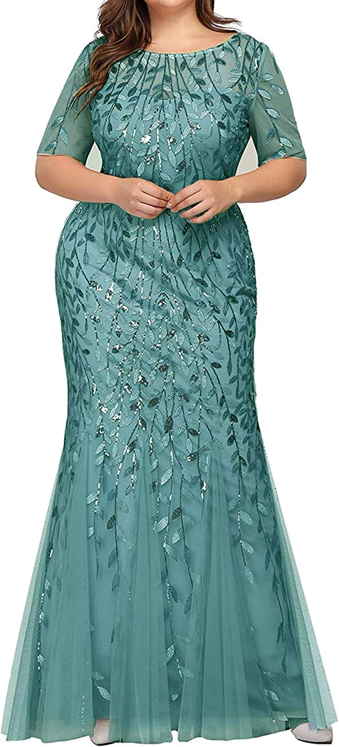 Women's Sequins Glitter Plus Size Evening Cheap mail Super popular specialty store order shopping Maxi Mermaid Mesh Prom