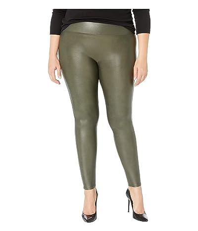 Spanx Plus Size Faux Leather Leggings (Rich Olive) Women
