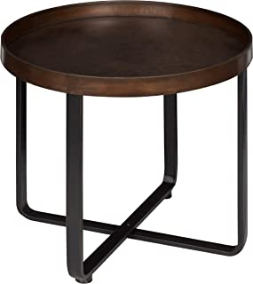 Kate and Laurel Zabel Modern Round Metal End Table with Criss Cross Base, Bronze and Black