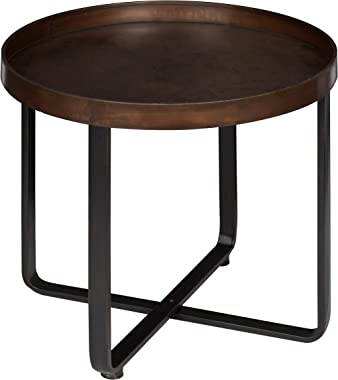 "Kate and Laurel Zabel Modern Round Metal End Table with Criss Cross Base Bronze and Black 22"" Diameter"