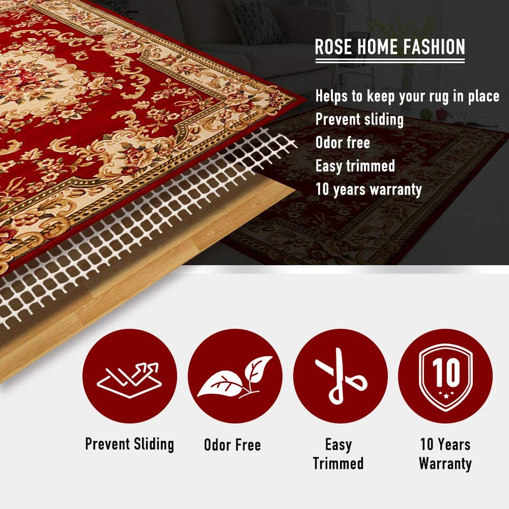 Rose Home Fashion RHF Non-Slip Area Rug Pad 5 x 8 Ft Protect Floors While Securing Carpet Rug and Making Vacuuming Easier 5 x 8