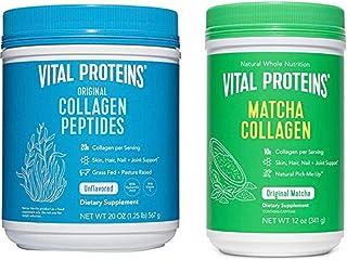 Vital Proteins Collagen Peptides Powder 20oz & Matcha Collagen 12oz