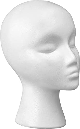 """12"""" Styrofoam Wig Head - Tall Female Foam Mannequin Wig Stand and Holder - Style, Model And Display Hair, Hats and Ha..."""