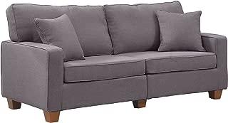 Divano Roma Furniture 73 – Inch Love Seat Linen Fabric Sofa, Light Grey