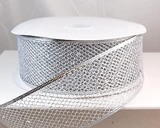 Wired Glitter Netting Mesh Silver Christmas Ribbon 2 1/2