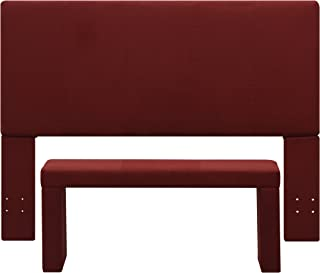 Handy Living Nelson Microfiber Headboard and Bench Set, Full/Queen, Red