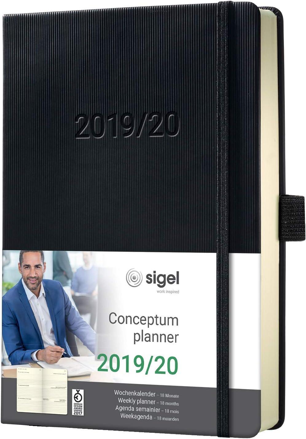 SIGEL C2002 Agenda semanal 2019/2020, Conceptum, 18 meses, tapa dura, 10,8 x 15,1 cm, negro