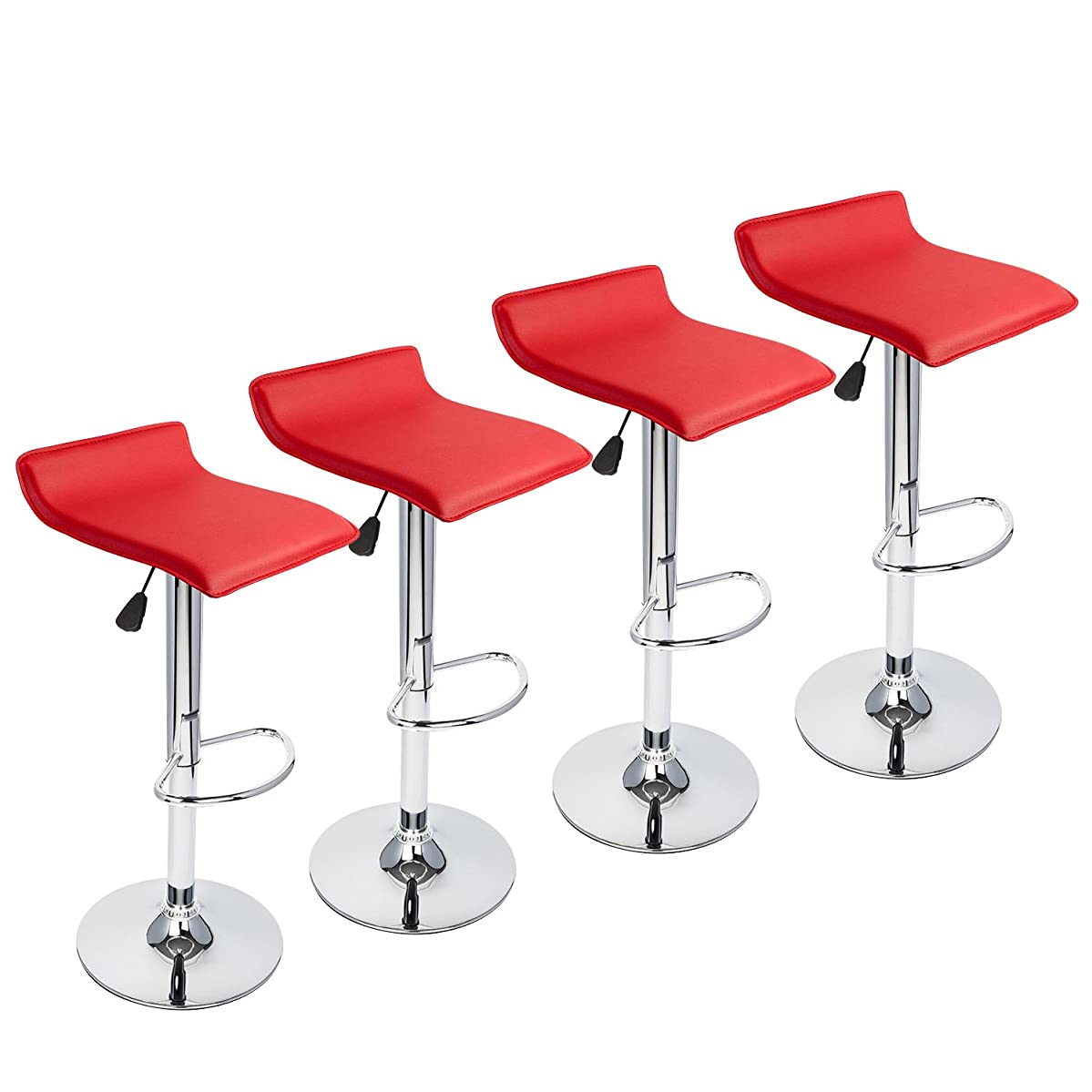 Red Bar Stools Set of 4,Hydraulic Adjustable Swivel Bartools with Contemporary Chrome PU Leather