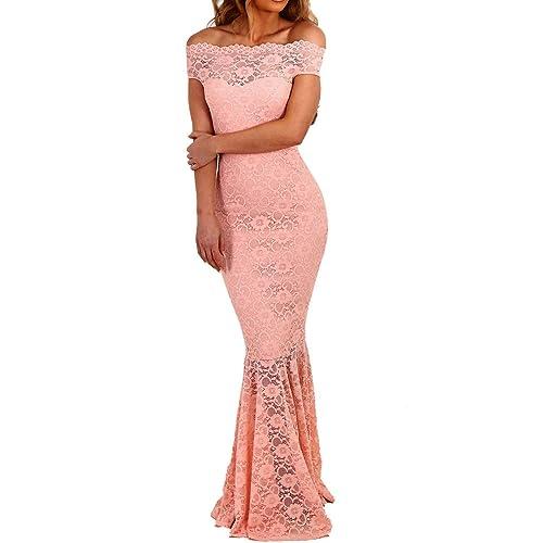 6e9183e68f3d emmarcon Elegante Abito Cerimonia da Donna in Pizzo Stile a Sirena Vestito  Lungo Damigella Festa
