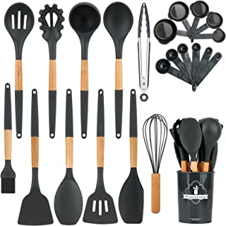 Apsung 22PCS Silicone Cooking Kitchen Utensils Set with Holder, Wooden Handles BPA Free Non Toxic Silicone Turner Tongs Sp...