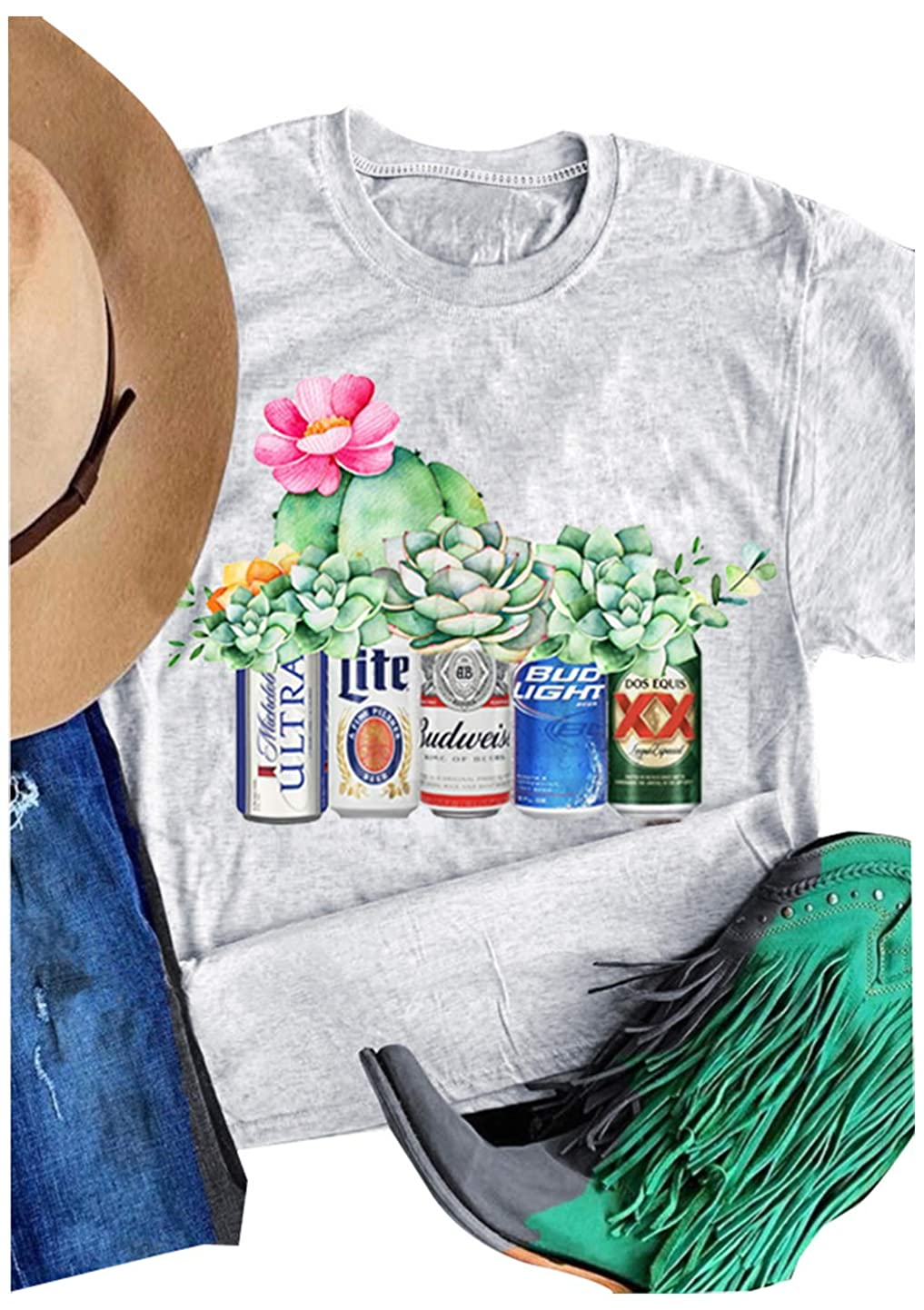 Women Bud Light and Flower Graphic T-Shirt Graphic Tee Short Sleeve Top lrmjjhtffbv2