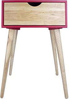 Heather Ann Creations Euro Collection Modern Single Drawer Accent End Table, Red