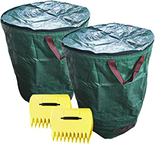 Reusable Yard Waste Bags with lid 272L/300L/400L/500L, 2 PCS Garden Waste Bags and 2 Pair Lawn Claws,Can Quickly Help You ...